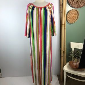 Vintage Maxi Loungewear Dress Rainbow Stripe Terry